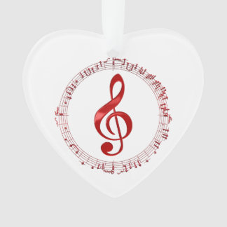 Red Treble Clef In Music Notes Ornament