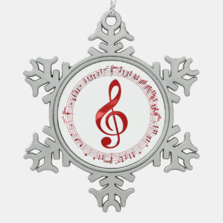 Red Treble Clef In Music Notes Snowflake Pewter Christmas Ornament