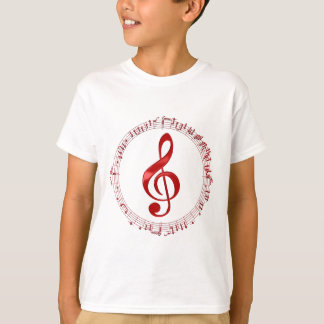 Red Treble Clef In Music Notes T-Shirt
