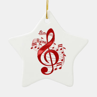 Red Treble Clef With Flowing Music Notes Ceramic Ornament