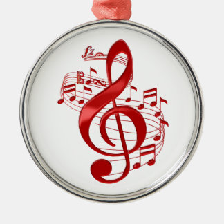 Red Treble Clef With Flowing Music Notes Metal Ornament