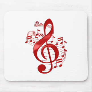Red Treble Clef With Flowing Music Notes Mouse Pad