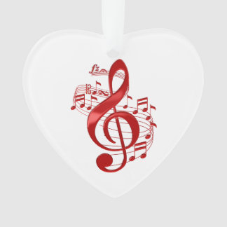 Red Treble Clef With Flowing Music Notes Ornament