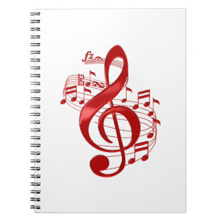 Red Treble Clef With Flowing Music Notes Spiral Notebook