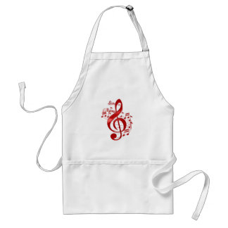 Red Treble Clef With Flowing Music Notes Standard Apron