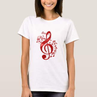Red Treble Clef With Flowing Music Notes T-Shirt