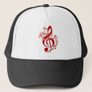 Red Treble Clef With Flowing Music Notes Trucker Hat