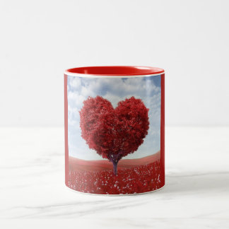 Red Tree Heart Two Tone Mug