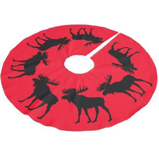red Tree skirt Christmas  moose Brushed Polyester Tree Skirt