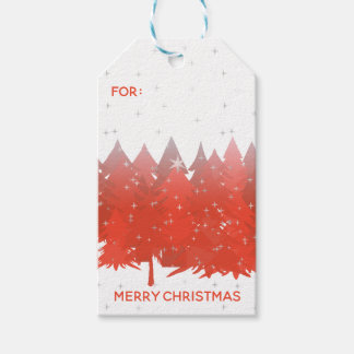 Red Trees Silver Stars White Merry Christmas Gift Tags