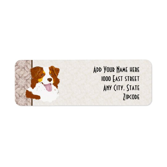 Red Tri Aussie Dog Custom Return Address Label