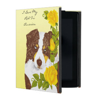 Red Tri Australian Shepherd with Yellow Roses iPad Cover