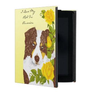 Red Tri Australian Shepherd with Yellow Roses iPad Folio Case