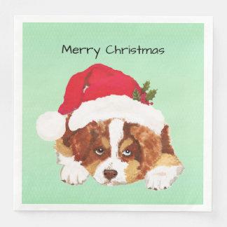 Red Tri Christmas Australian Shepherd Puppy Disposable Napkin