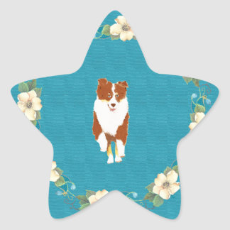 Red Tri running Aussie on Teal Floral Star Sticker