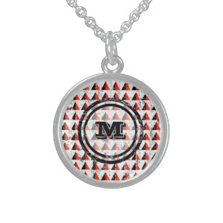 Red Triangles Geometric Monogram Sterling Silver Necklace