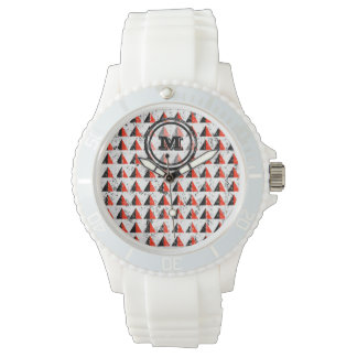 Red Triangles Geometric Monogram Wristwatches