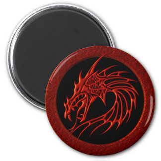RED TRIBAL DRAGON 2 INCH ROUND MAGNET