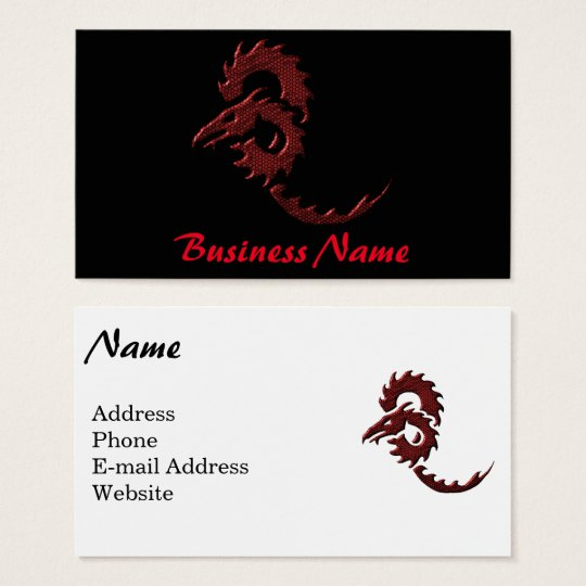 Red Tribal Dragon Business Card