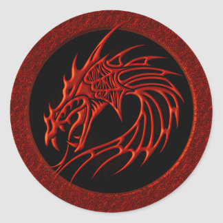 RED TRIBAL DRAGON CLASSIC ROUND STICKER