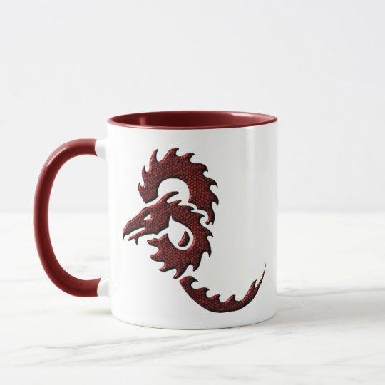 Red Tribal Dragon Mug