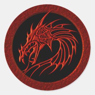 RED TRIBAL DRAGON ROUND STICKER