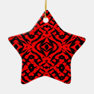Red tribal shapes pattern ceramic star ornament