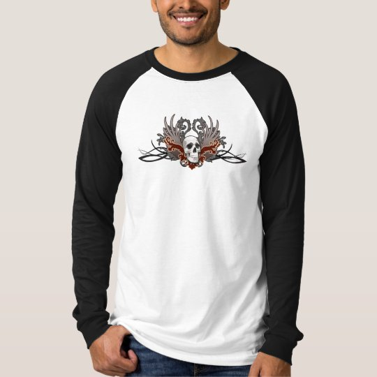 Red Tribal Winged Skull T-Shirt Jersey