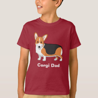 Red Tricolor Pembroke Welsh Corgi Dad T-Shirt