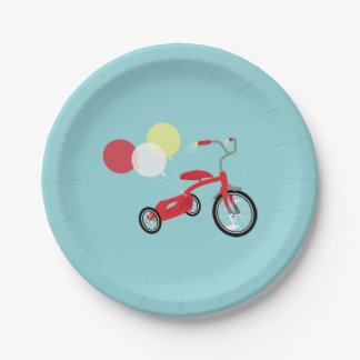 Red Tricycle Graphic Paper Plate
