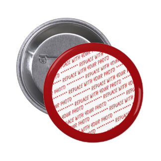 Red Trimmed Photo Template 2 Inch Round Button