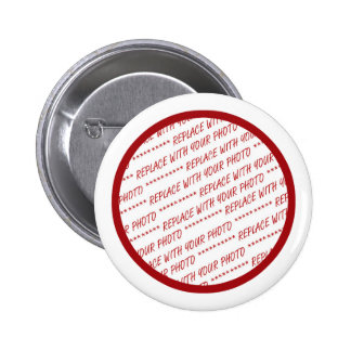 Red Trimmed Photo Template Pinback Button