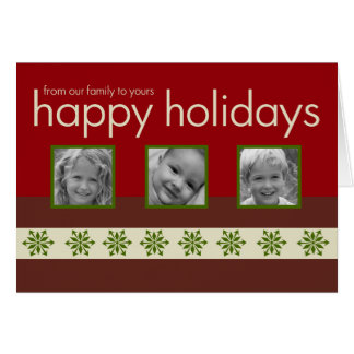 Red Triple Photo Folded Holiday Card