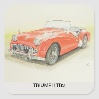 Red Triumph TR3 Sports Car printed on Sticky Label