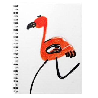 red tropical bird notebook