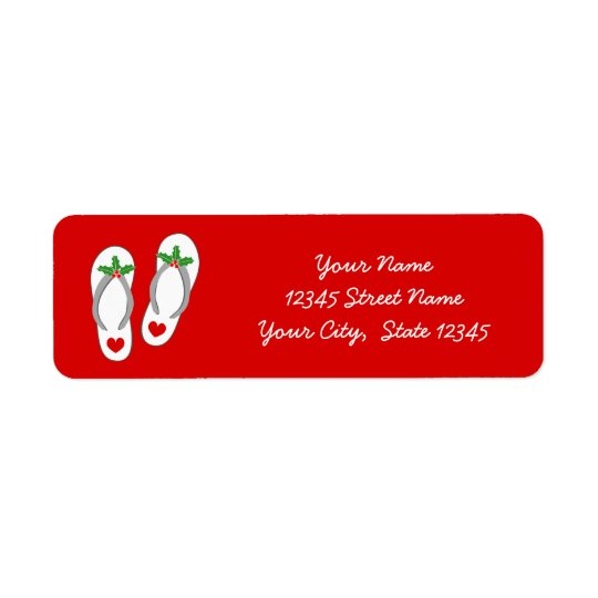 Red tropical Christmas holly leaf beach flip flops Return Address Label