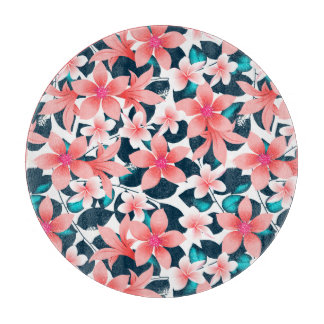 Red tropical hibiscus cutting board