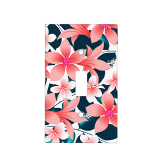 Red tropical hibiscus light switch cover