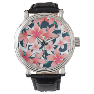 Red tropical hibiscus watch