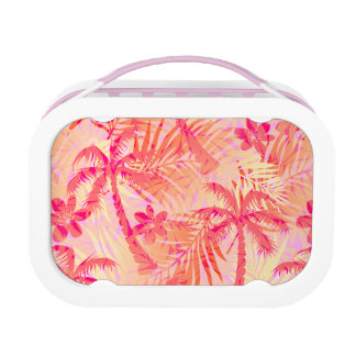 Red tropical palms lunch box