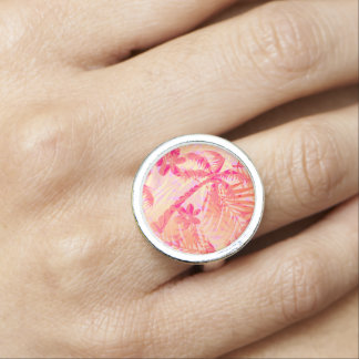 Red tropical palms photo rings