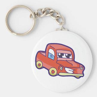 Red Truck Basic Round Button Keychain