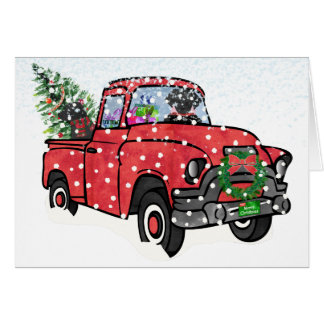 Red Truck Christmas Black Labs Card