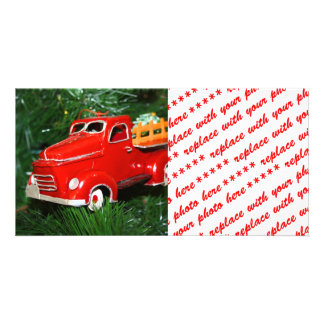 Red Truck Christmas  Ornament 3 Photo Greeting Card