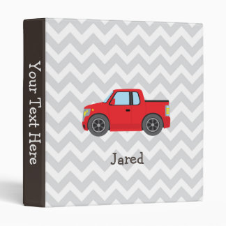 Red Truck on Gray and White Chevron Stripes Vinyl Binders