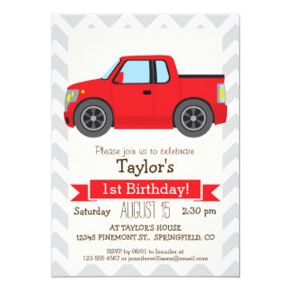 Red Truck on Gray and White Chevron Stripes 5x7 Paper Invitation Card