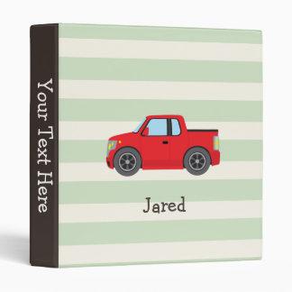 Red Truck; Pastel Green Stripes Vinyl Binder