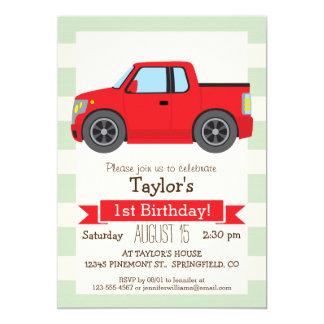Red Truck; Pastel Green Stripes 5x7 Paper Invitation Card