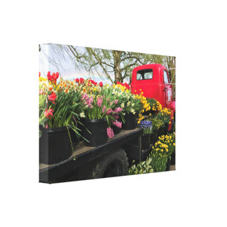 Red Truck with Spring Flowers & Rainbow Canvas Print