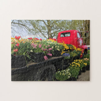 Red Truck with Spring Flowers & Rainbow Jigsaw Puzzle